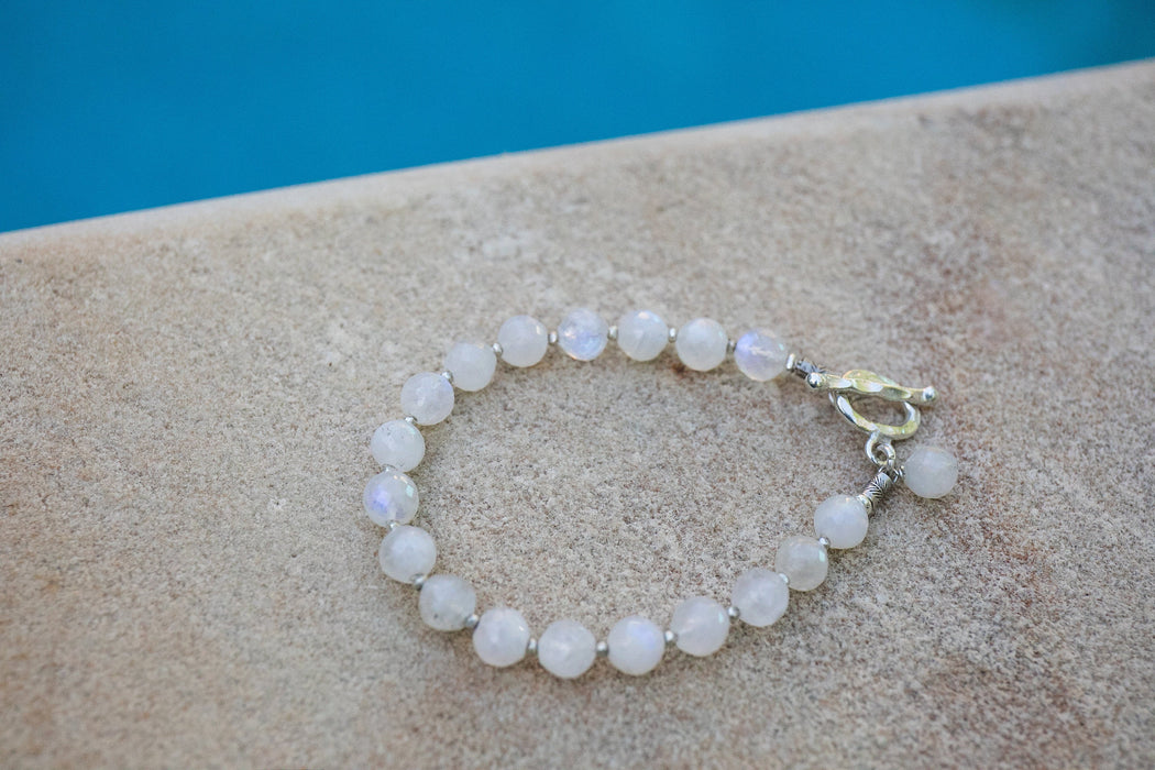 Beaded Faceted Rainbow Moonstone Bracelet with Thai Hill Tribe Silver - Gemstone Jewellery - Handmade Crystal Jewellery