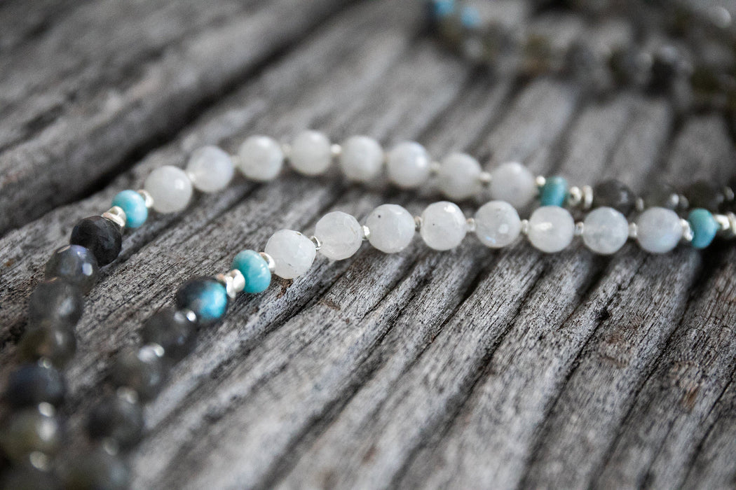 Labradorite, Larimar, Rainbow Moonstone + Thai Hill Tribe Silver Mala Necklace with Lotus Pendant - Long High Quality Gemstone Mala Necklace