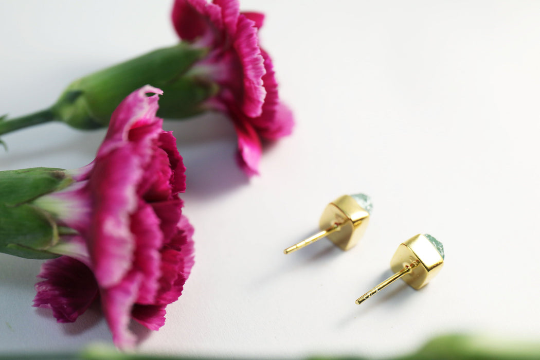 Lovely Indocolite Tourmaline Studs Set in Gold Plated Sterling Silver - Gemstone Studs - Tourmaline Jewellery