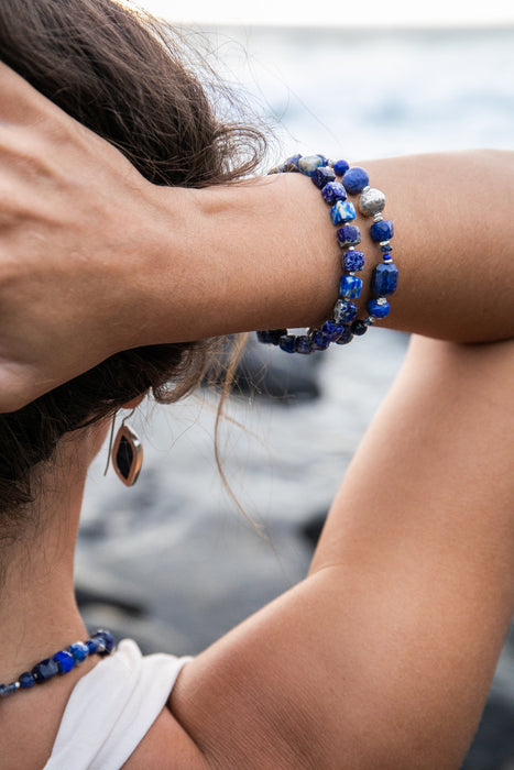 Gorgeous High Quality Beaded Lapis Lazuli, Sodalite and Kyanite Bracelet with Thai Hill Tribe Silver Beads and Clasp - Handmade Jewellery