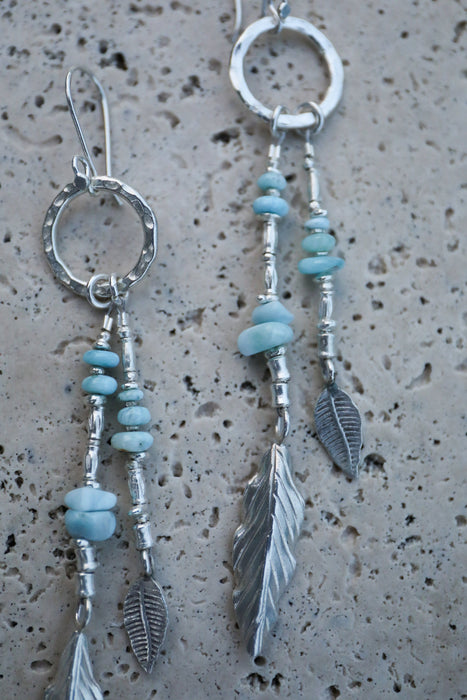 Gorgeous Statement Long Larimar and Thai Hill Tribe Silver Beaded Earrings - Handmade Gemstone Earrings - Dolphin Stone Jewellery - Jewelry