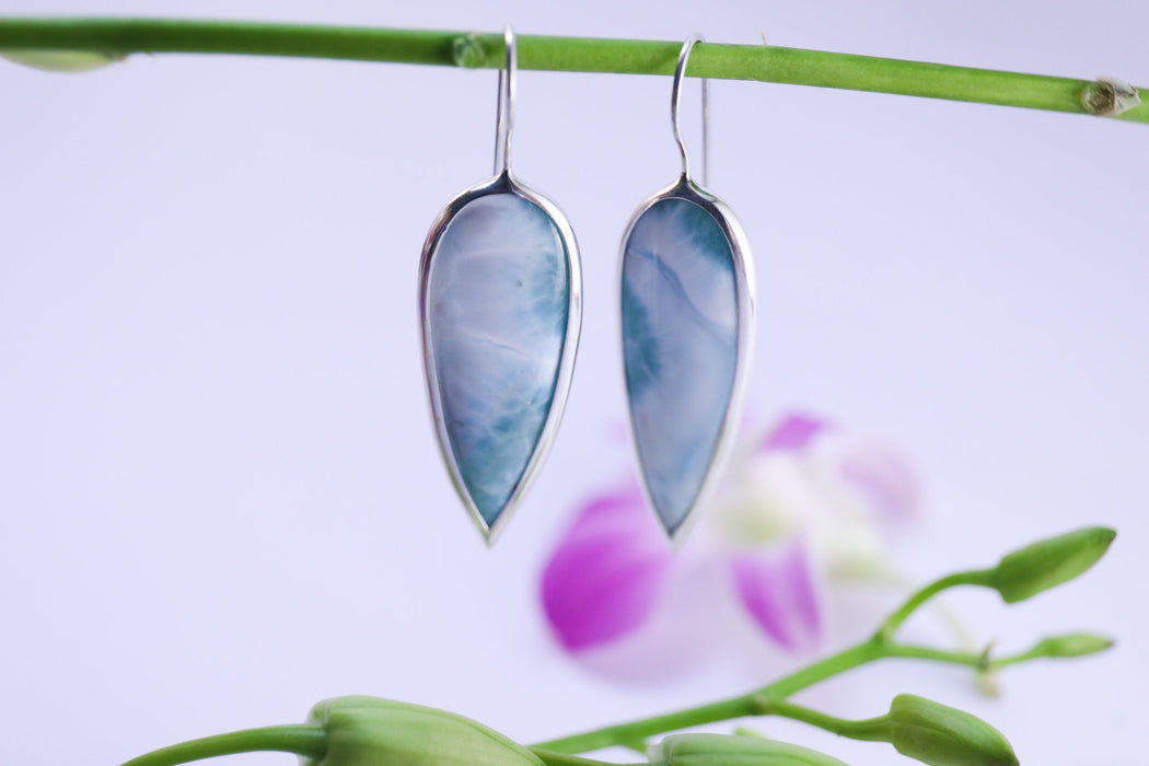 Gorgeous Statement A Grade Larimar Earrings Edge set in 92.5% Sterling Silver - Larimar Jewelry - Dolphin Stone Jewellery - Gemstone