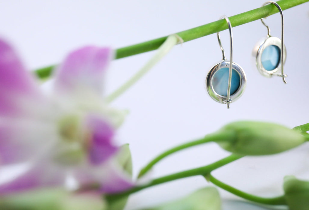 Gorgeous A Grade Larimar Round Earrings set in 92.5% Sterling Silver - Larimar Jewelry - Dolphin Stone