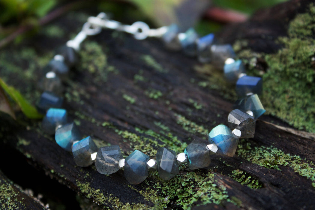 Unique Faceted Labradorite Bracelet with Thai Hill Tribe Silver Beads and Clasp - Handmade Beaded Gemstone Jewellery - Jewelry