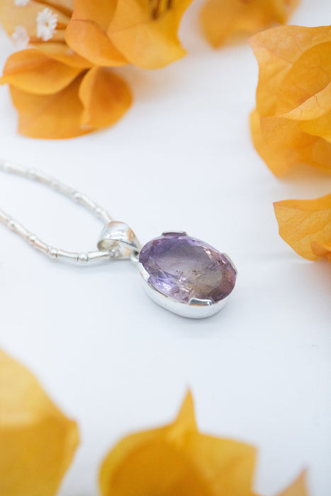 Lovely Faceted Ametrine Pendant set in Unique Sterling Silver Setting - High Quality Ametrine Jewellery - Gemstone Pendant