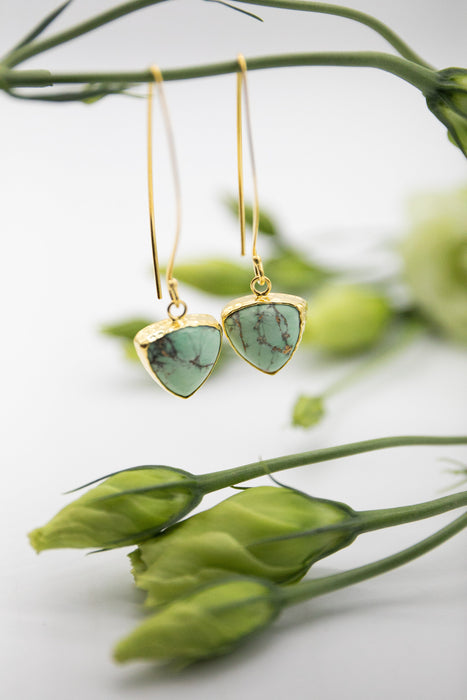 Sweet and Soft Triangle Variscite Earrings on Long Gold Plated Sterling Silver Hooks - Gemstone Jewellery - Teardrop Variscite Jewellery