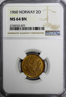 NORWAY Bronze 1960 2 ORE NGC MS64 BN BETTER DATE 1 COIN GRADED HIGHER KM# 410
