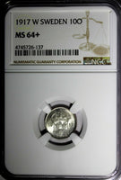 "SWEDEN Gustaf V Silver 1917-W 10 Ore NGC MS64+ ""PLUS"" WWI Issue KM#780"