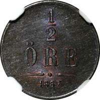 SWEDEN Carl XV 1867 1/2 Ore NGC MS63 BN LARGE DATE SCARCE 1 YEAR TYPE KM# 715