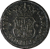 Mexico SPANISH COLONY Charles III Silver 1767 Mo M 1/2 Real Toned RARE KM# 68