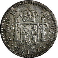 Mexico SPANISH COLONY Charles III Silver 1780 Mo FF 1/2 Real Toning KM# 69.2