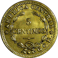 "COSTA RICA Brass 1936 ""GCR"" Right of stars 5 Centimos UNC KM# 151"