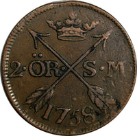 SWEDEN COPPER Adolf Frederick 1758 2 Ore,S.M Mintage: 91,000 SCARCE KM#461 15223