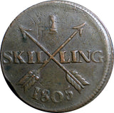 SWEDEN COPPER 1805 1 SKILLING OVERSTRUCK ON 18th Cent 2 ORE S.M.  KM#566