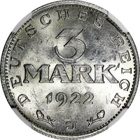 Germany,Weimar Republic 1922 J 3 Mark NGC MS62 LEGEND AROUND EAGLE KM# 29