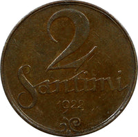 Latvia Bronze 1922 2 Santimi Without Mint Name below Ribbon Better Variety KM# 2
