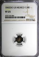 MEXICO Silver 1842 DO LR 1/4 Real Quarto NGC VF25 Durango Mint SCARCE KM# 368.2