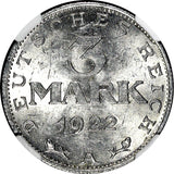 Germany,Weimar Republic 1922 A 3 Mark NGC MS63 LEGEND AROUND EAGLE KM# 29