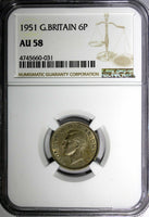 Great Britain George VI Copper-Nickel 1951 6 Pence NGC AU58 Toned KM# 875