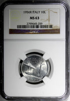 Italy Aluminum 1956 R 10 Lire NGC MS63 BETTER DATE KM# 93