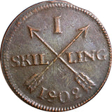SWEDEN COPPER 1802  1 SKILLING OVERSTRUCK ON 2 ORE S.M. 1751-1768  KM#566