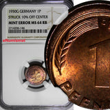 Germany - Federal Republic 1950-G 1 Pfennig NGC MINT ERROR MS64 RB SCARCE KM#105