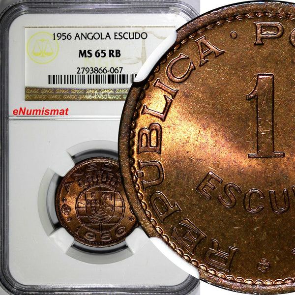 Angola Bronze 1956 1 Escudo NGC MS65 RB RED-BROWN KM# 76 (067)
