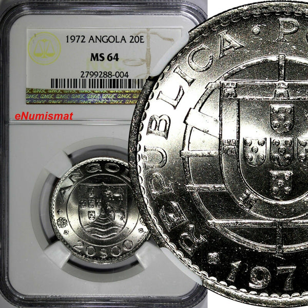 Angola 1972 20 Escudos NGC MS64 30mm Low Mintage-428,000 KM# 80 (004)