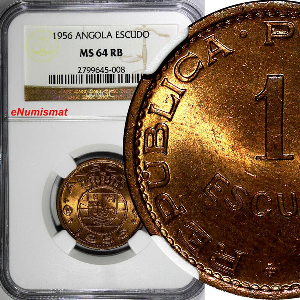 Angola Bronze 1956 1 Escudo NGC MS64 RB 26 mm NICE RED TONING KM# 76 (008)