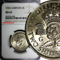 GREAT BRITAIN George VI Silver 1943 2 Shilling NGC MS63 WWII Issue KM# 855 (208)