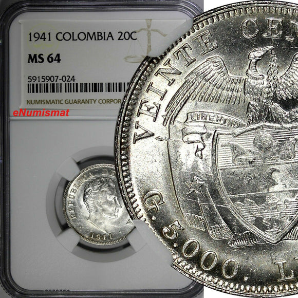 Colombia Silver Bolivar 1941 20 Centavos NGC MS64 1 GRADED HIGHEST KM# 197 (24)