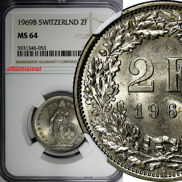 Switzerland Copper-Nickel 1969 B 2 Francs NGC MS64  KM# 21a.1 (053)