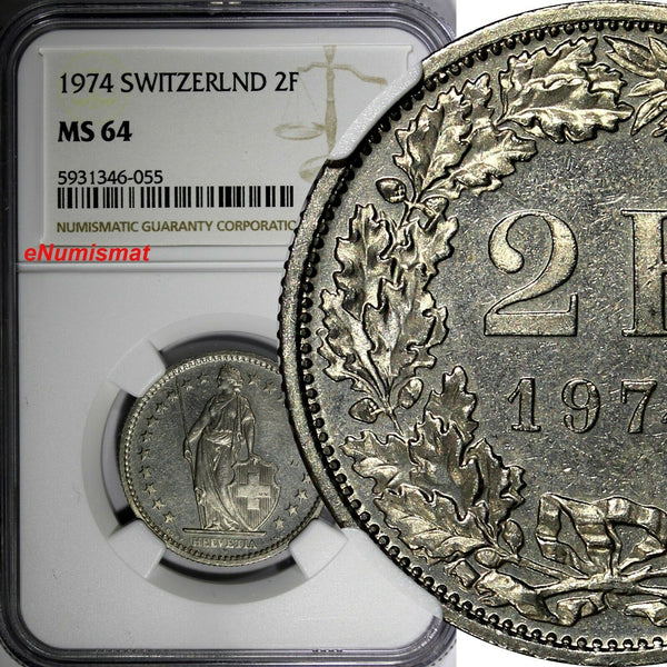 Switzerland 1974  2 Francs NGC MS64 GEM BU BETTER DATE KM# 21a.1 (055)
