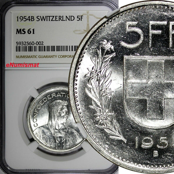 Switzerland Silver 1954 B 5 Francs NGC MS61 KM# 40 (002)