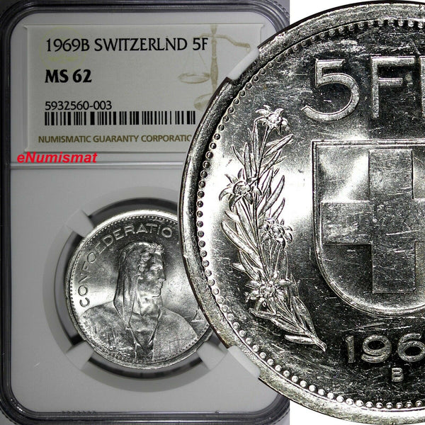 Switzerland Silver 1969 B 5 Francs NGC MS62 KM# 40 (003)