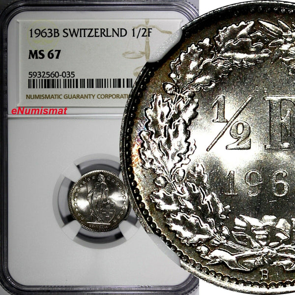 Switzerland Silver 1963 B 1/2 Franc NGC MS67 GEM BU TOP GRADED BY NGC KM# 23 (5)