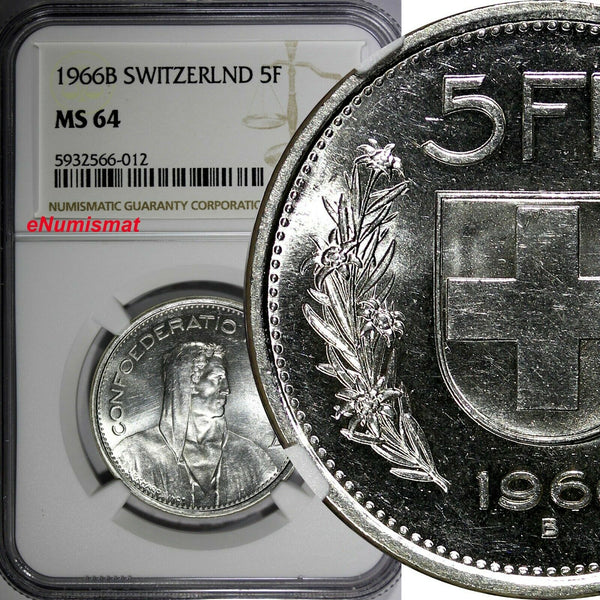 Switzerland Silver 1966 B 5 Francs NGC MS64 GEM BU KM# 40 (012)