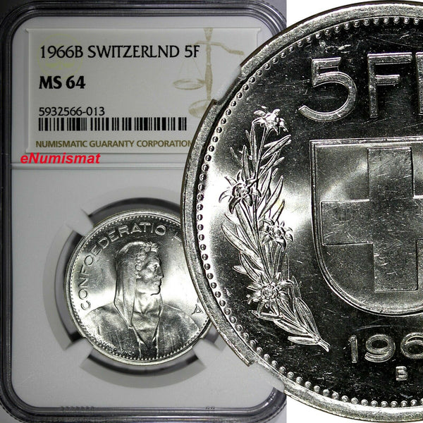 Switzerland Silver 1966 B 5 Francs NGC MS64 GEM BU KM# 40 (013)
