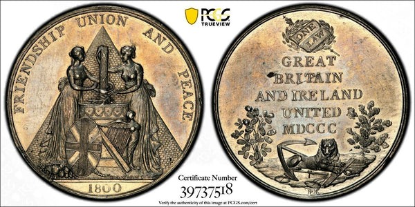 1800 MEDAL Union of GREAT BRITAIN & IRELAND by J.Hancock PCGS SP61 TOP GRADED