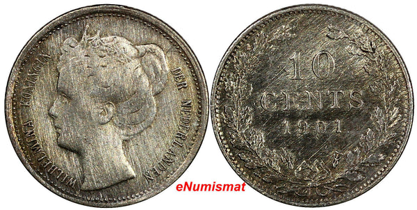 Netherlands Wilhelmina I Silver 1901 10 Cents VF Details Light Toning KM# 119