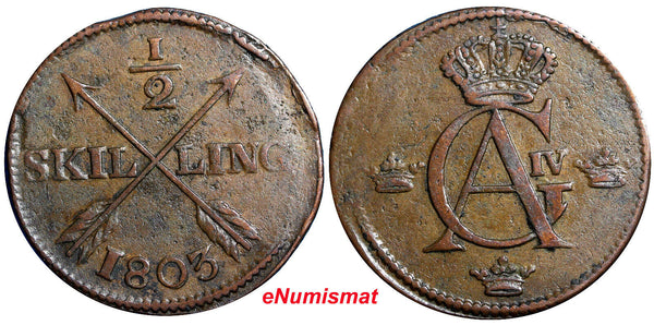 SWEDEN COPPER Gustaf IV Adolf  1803 1/2 Skilling KM# 565