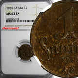 Latvia Bronze 1935 1 Santims NGC MS63 BN Struck at Switzerland.Last Date KM# 1