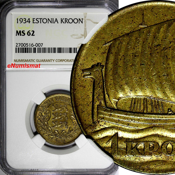 Estonia 1934 1 Kroon NGC MS62 ONE YEAR STRUCK Ship of Vikings KM# 16