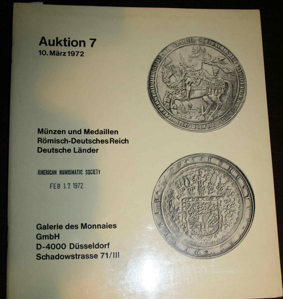 GALERIE DES MONNAIES GMBH AUCTION#7 1972  ROMAN EMPIRE IN GOLD GREAT RARITY SALE