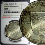 SWEDEN Silver 1935 5 Kronor NGC MS62 Toning 500th Anniversary of Riksdag KM# 806