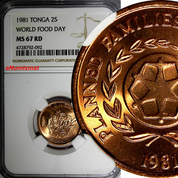TONGA 1981 2 Seniti FAO - World Food Day NGC MS67 RD FULL RED TOP GRADED KM# 67