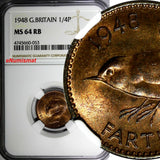 Great Britain George VI Bronze 1948 Farthing NGC MS64 RB LAST YEAR TYPE KM# 843