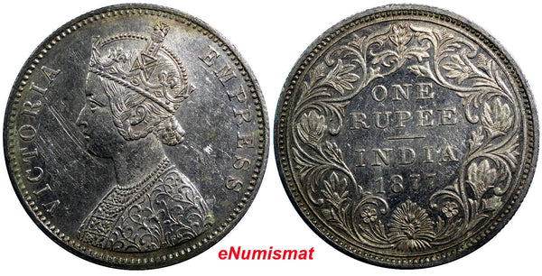 India-British Silver Victoria1877 B (Bombay)  Rupee aUNC KM# 492 First Year Type