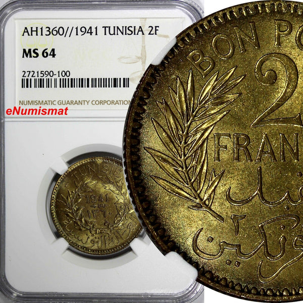 TUNISIA Anonymous Aluminum-Bronze AH1360//1941 2 Francs NGC MS64 TOP GRADE KM248