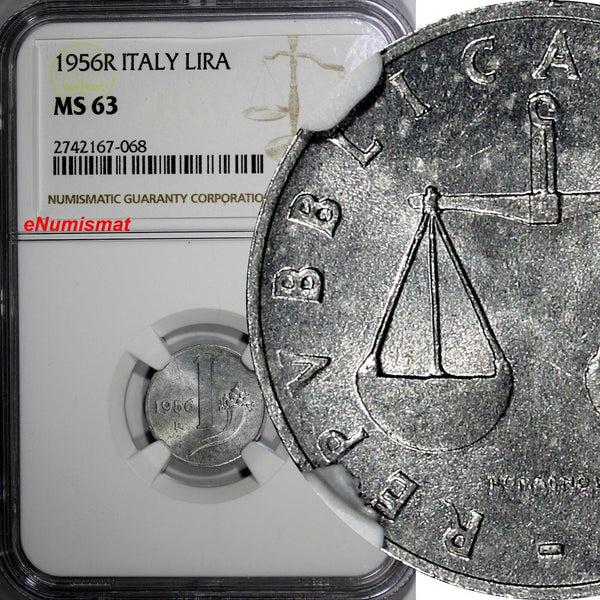 Italy 1956 R 1 Lira NGC MS63 BETTER DATE TOP GRADED BY NGC SCARCE KM# 91